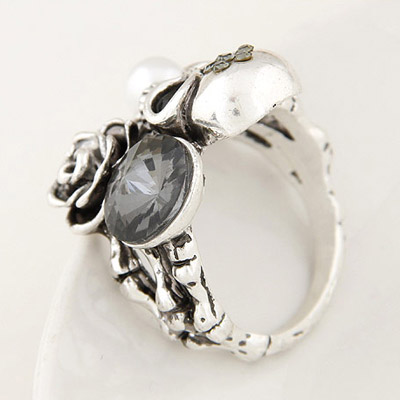 Silver Diamond Skull Shape Ring