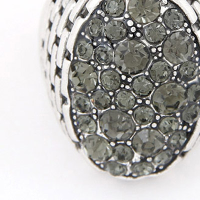 Gray Diamond Oval Shape Ring