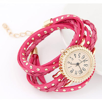 Plum Red Rivet Multilayer Ladies Watch