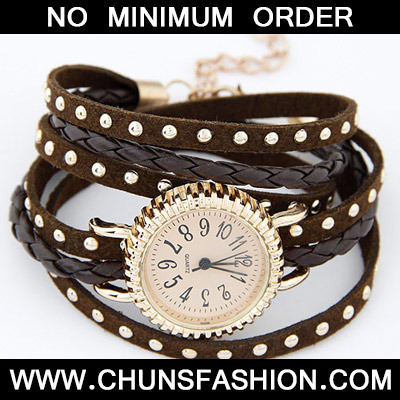 Brown Rivet Multilayer Ladies Watch