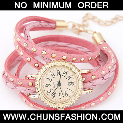 Pink Rivet Multilayer Ladies Watch