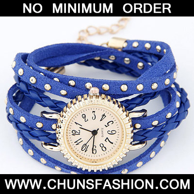 Blue Rivet Multilayer Ladies Watch