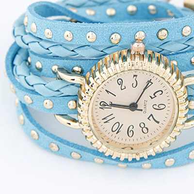 Light Blue Rivet Multilayer Ladies Watch