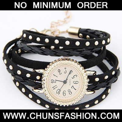 Black Rivet Multilayer Ladies Watch