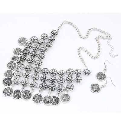 Silver Flower Hollow Out Jewelry Set