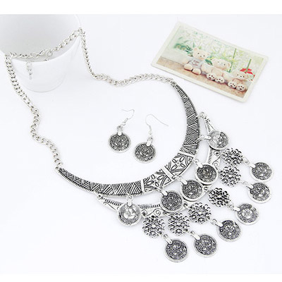 Silver Coin Shape Hollow Out Jewelry Set