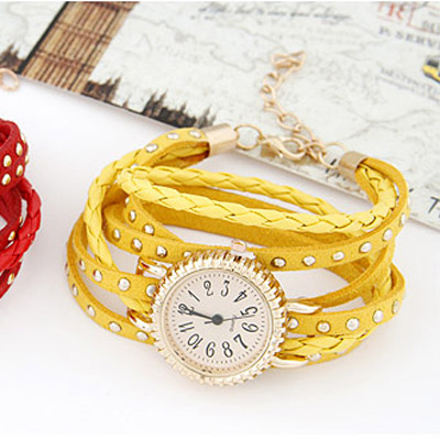 Yellow Rivet Multilayer Ladies Watch