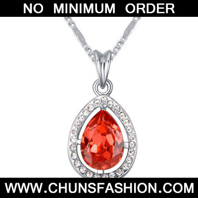 Padparadscha Diamond Waterdrop Pendant Crystal Necklace