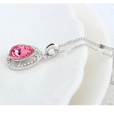 Plum Red Diamond Waterdrop Pendant Crystal