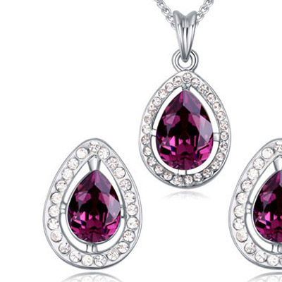 Purple Diamond Waterdrop Shape Crystal Set