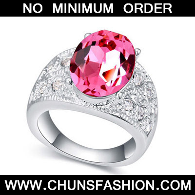 Plum Red Crystal Ring