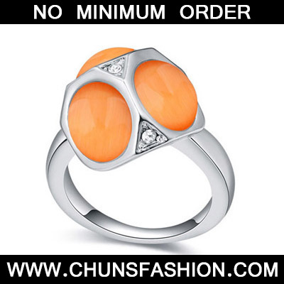 Orange Geometrical Shape Crystal Ring