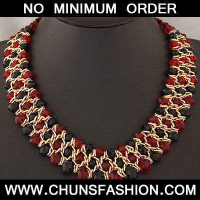 Red & Black Beads Weave Necklace