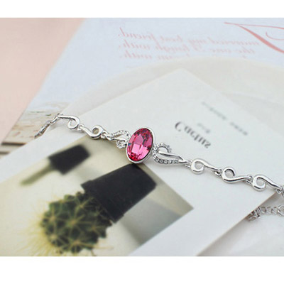 Plum Red Oval Shape Crystal Bracelet