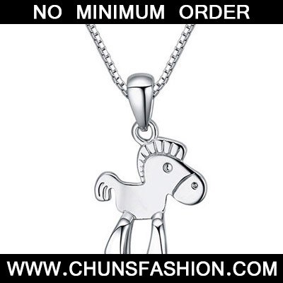 Silver Horse Pendant Crystal Necklace
