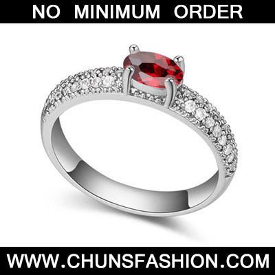 Garnet Red Diamond Zircon Crystal Ring