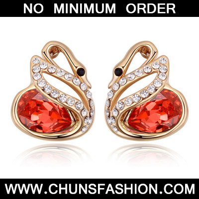 Padparadscha & Champagne Gold Diamond Swan