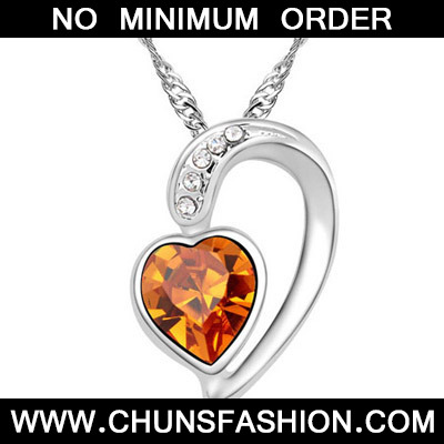 Yellow Diamond Heart Pendant Crystal Necklace