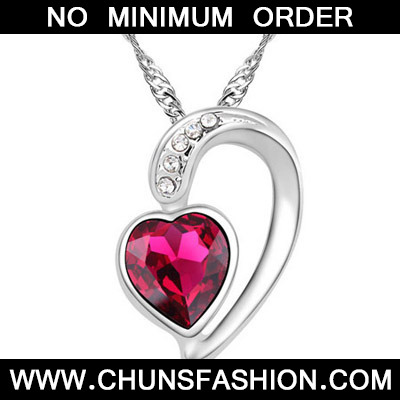 Red Diamond Heart Pendant Crystal Necklace