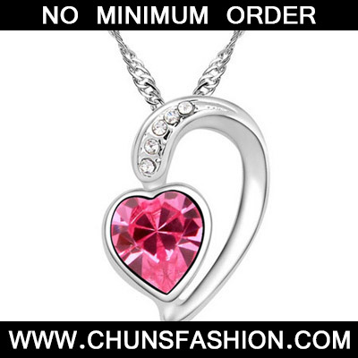Plum Red Diamond Heart Pendant Crystal