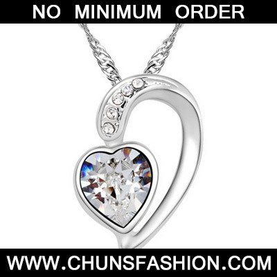 White Diamond Heart Pendant Crystal Necklace