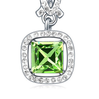 Olive Diamond Square Pendant Crystal Necklace
