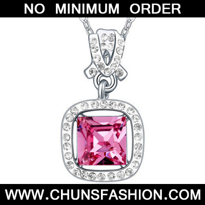 Plum Red Diamond Square Pendant Crystal