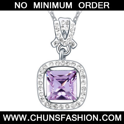 Violet Diamond Square Pendant Crystal Necklace