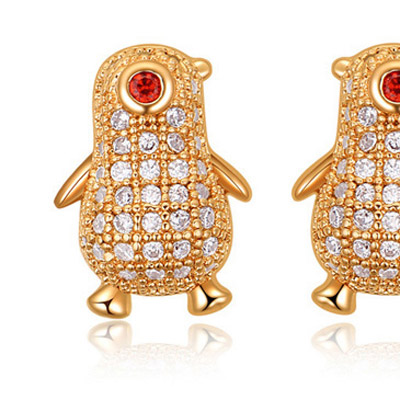 White & Champagne Gold Diamond Penguin