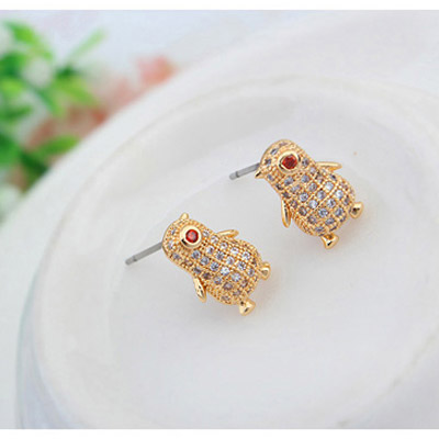 White & Champagne Gold Diamond Penguin - Click Image to Close
