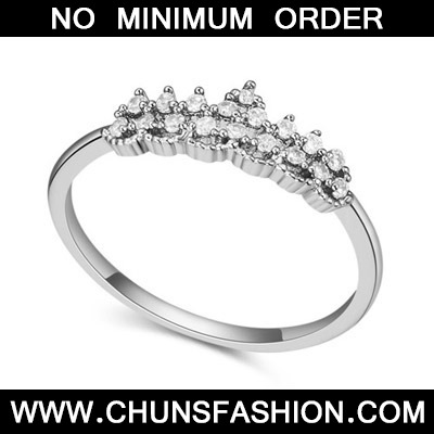 White Crown Shape Zircon Crystal Ring