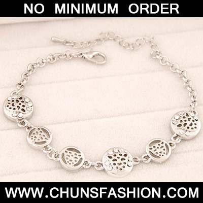 Silver Leopard Shape Hollow Out Bracele