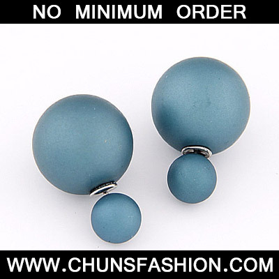 Blue Pure Round Shape Stud Earring