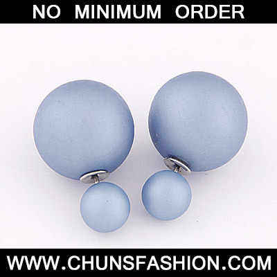 Blue Purple Pure Round Shape Stud Earring