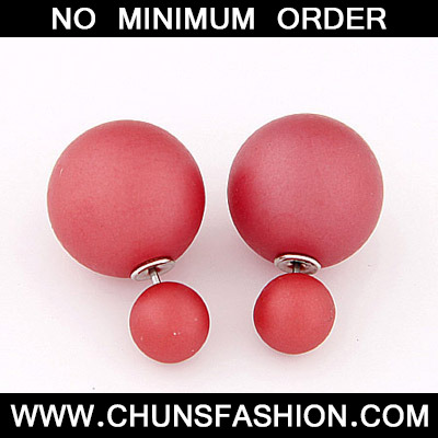 Red Pure Round Shape Stud Earring