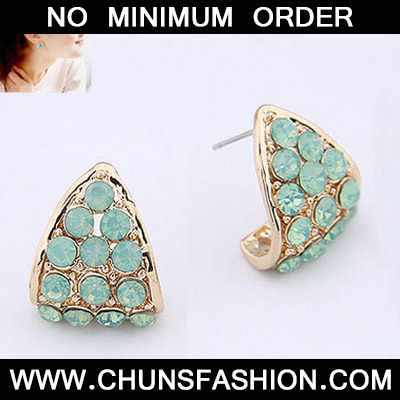 Blue Diamond Triangle Shape Stud Earring