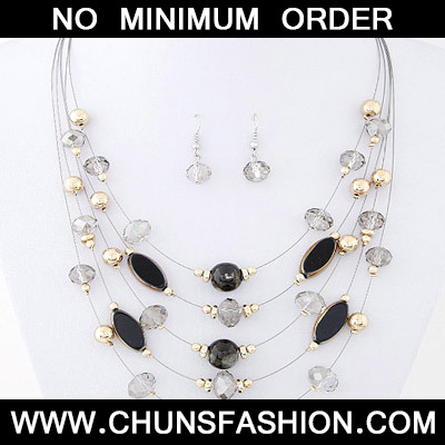 Black Beads Mutilayer Jewelry Set