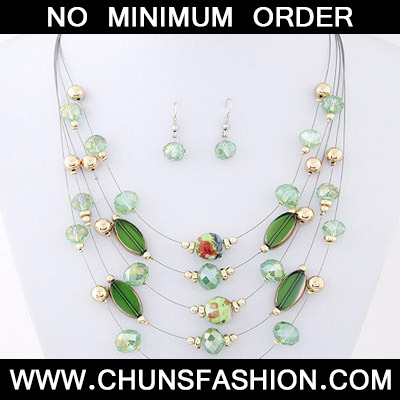 Green Beads Mutilayer Jewelry Set