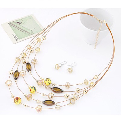 Yellow Beads Mutilayer Jewelry Set