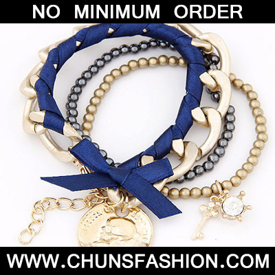 Blue & Gold Bowknot Multilayer Bracele