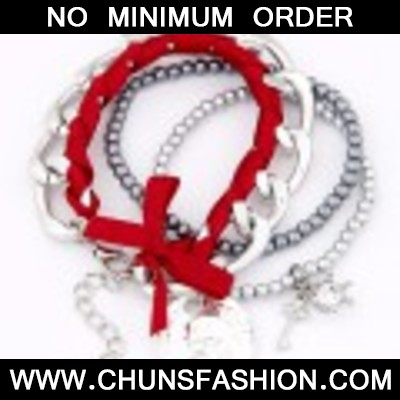 Red & Silver Bowknot Multilayer Bracele