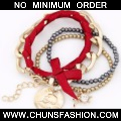 Red & Gold Bowknot Multilayer Bracele