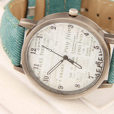 Light Green Letter Patern Ladies Watch