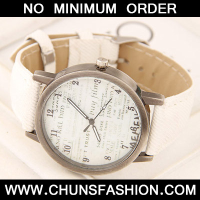 White Letter Patern Ladies Watch