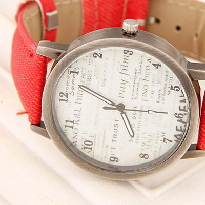 Red Letter Patern Ladies Watch