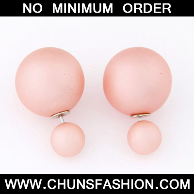 Pink Pure Round Shape Stud Earring
