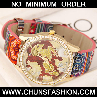 Red Diamond Sheep Pattern Ladies Watch