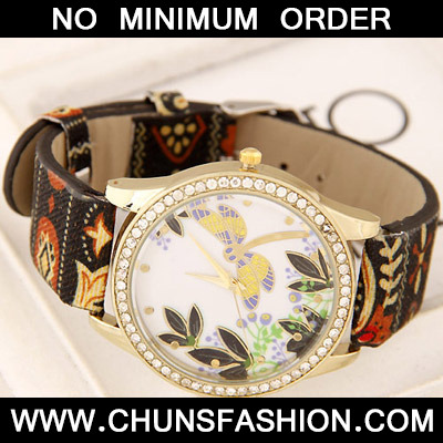 Black Diamond Dragonfly Pattern Ladies Watch