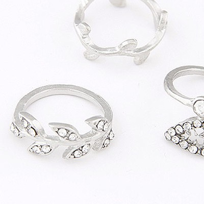 Silver Diamomd Leaf Shape Rings 3