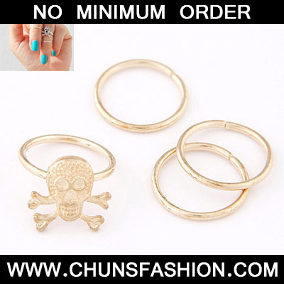 Gold Skull Shape Rings 4 Pieces